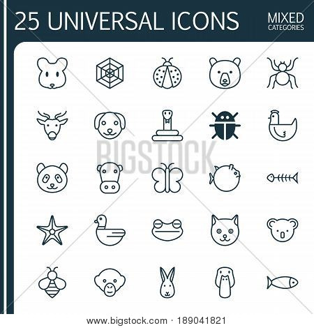 Animal Icons Set. Collection Of Grizzly, Bunny, Toad And Other Elements. Also Includes Symbols Such As Pussy, Sea, Koala.