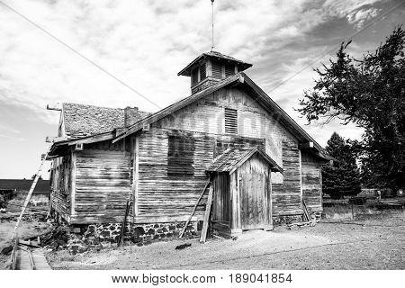 Weathered School house taken along HWY 2 Idaho