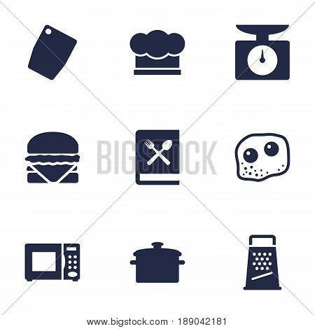 Set Of 9 Kitchen Icons Set.Collection Of Saucepan, Weighing Machine, Kitchen Rasp And Other Elements.