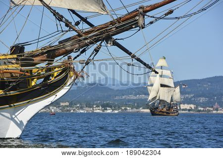 Two tall ships doing battle - Bellingham WA