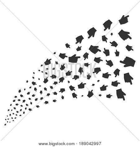 Index Finger source stream. Vector illustration style is flat gray iconic symbols on a white background. Object stream fountain created from randomized pictograms.
