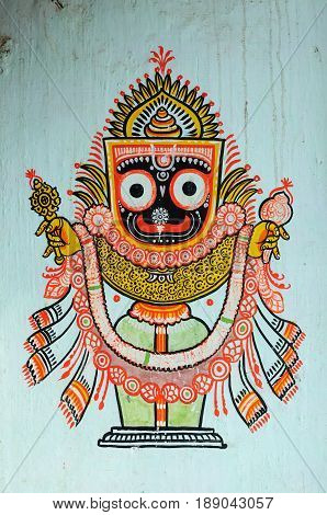 Hand drawn traditional the ancient tribal art India of a village wall in Orissa India