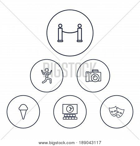 Set Of 6 Amusement Outline Icons Set.Collection Of Cinema, Barrier Rope, Masks And Other Elements.
