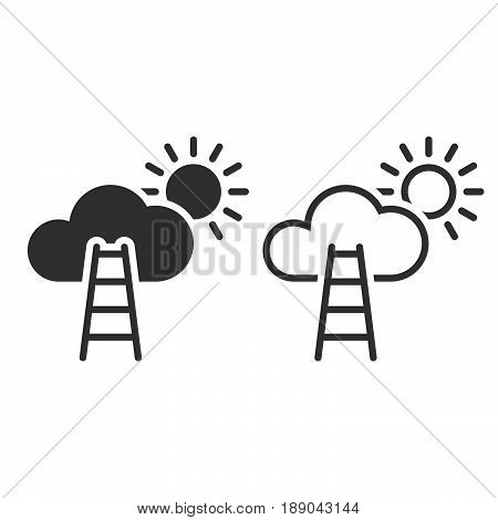 Stairway To Sky Line Icon, Outline And Solid Vector Sign, Linear And Full Pictogram Isolated On Whit