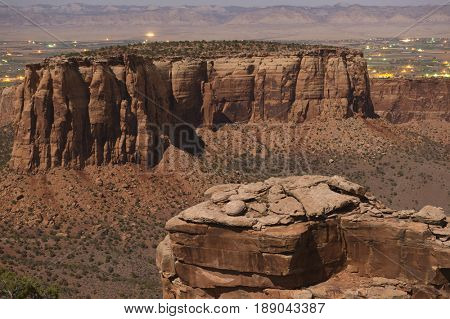 Rock formations in desert valley