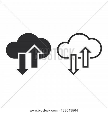 Cloud Sync Line Icon, Outline And Solid Vector Sign, Linear And Full Pictogram Isolated On White, Lo