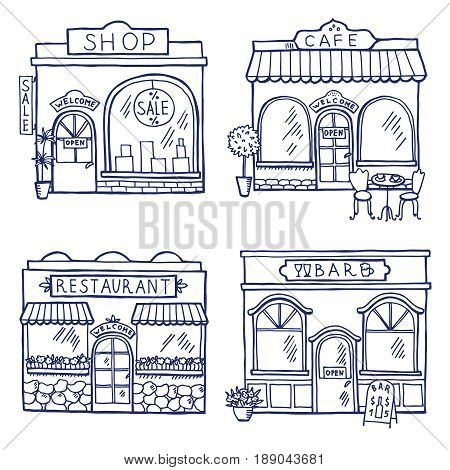 Hand drawn illustration of different buildings and market places. Restaurant, cafe, bar and shop. Facade store building architecture