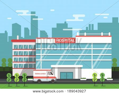 Health center, exterior of hospital building. Ambulance vector illustration. Clinic exterior, medical architecture hospital