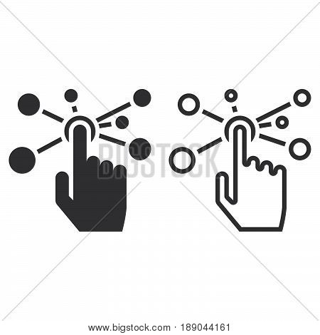 Interactive Interface Line Icon, Outline And Solid Vector Sign, Linear And Full Pictogram Isolated O