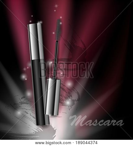Cosmetics beauty series, ads of premium mascara on a dark background Template for design posters, placard, logo, presentation, banners, covers, vector illustration.