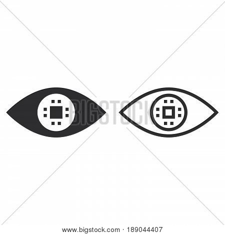 Cyber Eye Line Icon, Ocular Chip Outline And Solid Vector Sign, Linear And Full Pictogram Isolated O