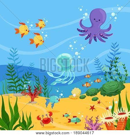 Underwater background illustration with ocean animals, plants and fishes. Vector sea underwater wildlife with seaweed and fish