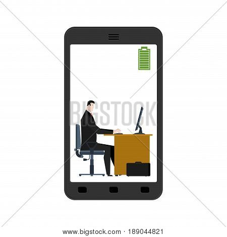 Full Battery On Smartphone. Charged Accumulator. Manager At Work. Businessman Sitting At Table. Work