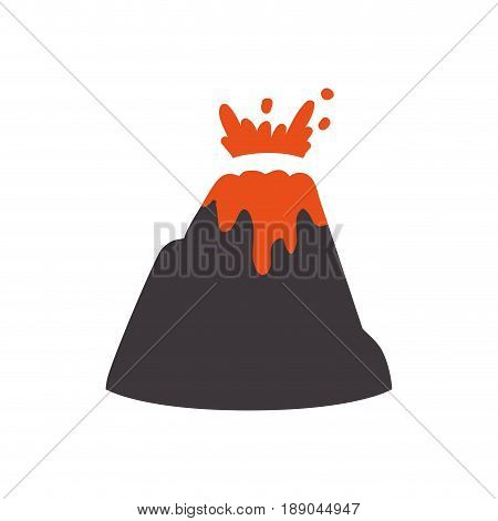 volcanic eruption with lava and rocks vector illustration