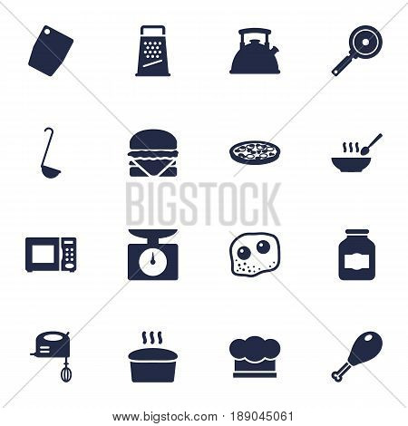 Set Of 16 Culinary Icons Set.Collection Of Loaf, Cutting Surface, Electronic Oven And Other Elements.