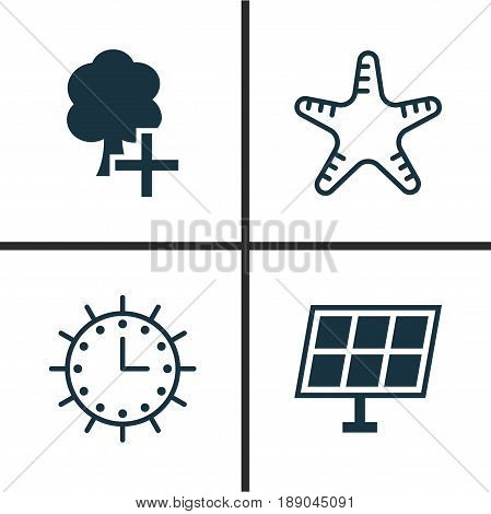 Eco-Friendly Icons Set. Collection Of Sun Clock, Sun Power, Insert Woods And Other Elements. Also Includes Symbols Such As Clock, Star, Starfish.