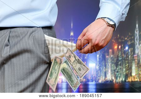 Photo of the man pulling out empty pockets