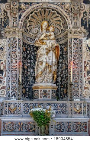 Marble statue of Our Lady of Trapani by Antonello Gagini in the church of San Giuseppe dei Teatini - Palermo Sicily Italy, 20 October 2011