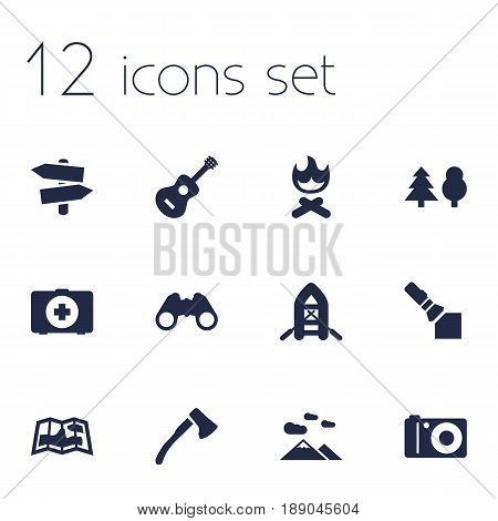 Set Of 12 Adventure Icons Set.Collection Of Signpost, Map, Wood Axe And Other Elements.