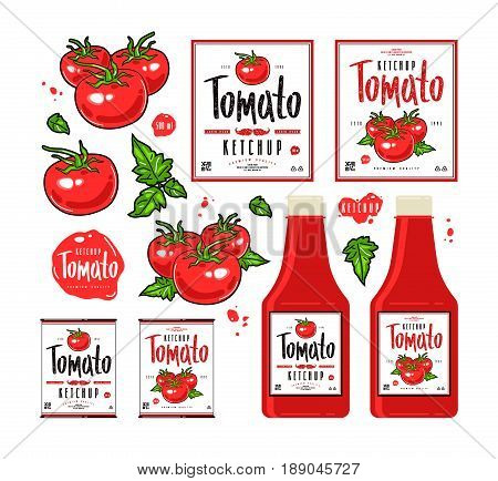 Set Of Template Labels For Tomato Ketchup