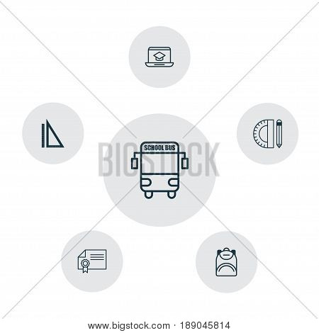 Education Icons Set. Collection Of Haversack, Distance Learning, Diploma And Other Elements. Also Includes Symbols Such As Supplies, Online, Diploma.