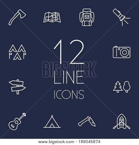 Set Of 12 Adventure Outline Icons Set.Collection Of Photographing, Guidepost, Gps And Other Elements.