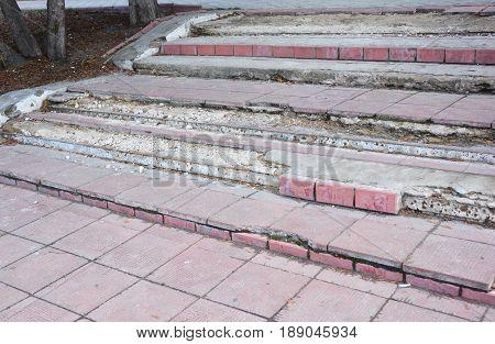 Broken Steps Outdoor. Damaged Stair Case to repair.