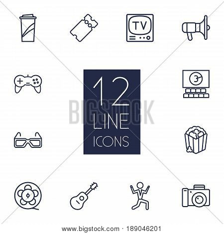 Set Of 12 Entertainment Outline Icons Set.Collection Of Popcorn, Cinema, Dancing Man And Other Elements.