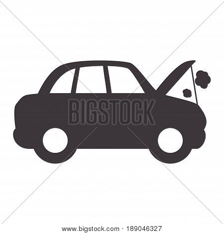 car burnt engine and dangerous diagnostic vector illustration