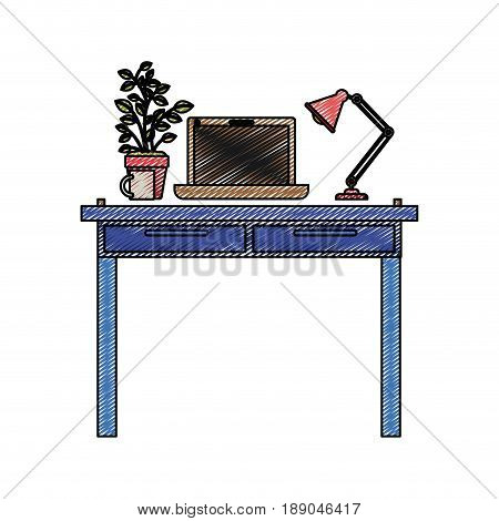 color crayon stripe silhouette of work place office interior with laptop computer and lamp and plantpot vector illustration