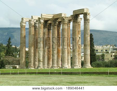 Stunning Ancient Remains of The Temple of Olympian Zeus, Athens City center, Greece