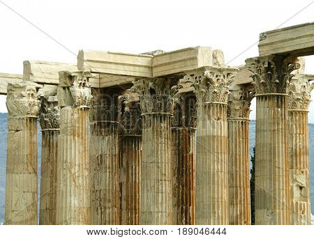 Corinthian Columns detail of The Temple of Olympian Zeus in Athens, Greece