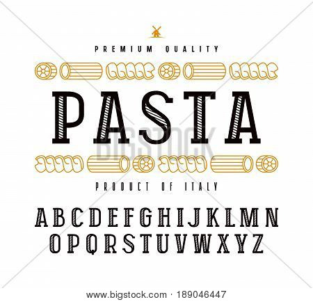 Decorative slab serif font in retro style and pasta label. Isolated on white background