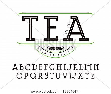 Decorative slab serif font with an internal contour. Design for titles and logo. Label for tea. Isolated on white background