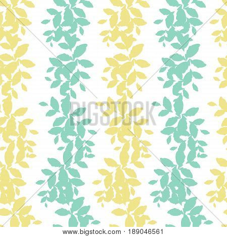 Seamless pattern with green and yellow leaves. delicate light airy texture for interior, tiles, textiles, scrapbook, packaging and various types of design. vector.