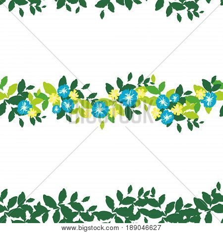 Seamless pattern with horizontal strips of green leaves and beautiful flowers on a white background. Bright and rich plant texture for textiles and various designs. vector