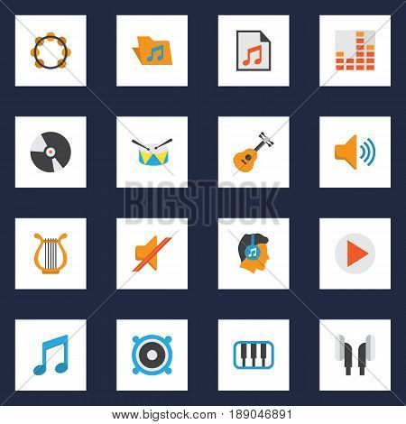 Audio Flat Icons Set. Collection Of Dj, Audio, Media And Other Elements. Also Includes Symbols Such As Earmuff, Synthesizer, Guitar.