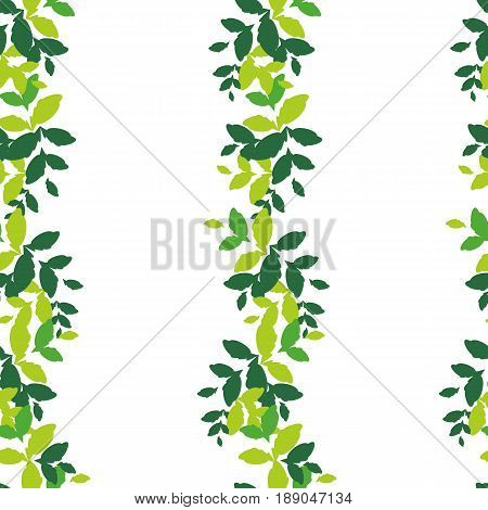 Seamless pattern with vertical stripes of green on a white background. Bright and rich plant texture for textiles and various designs. vector