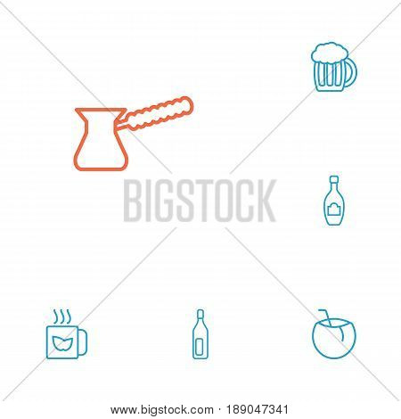 Set Of 6 Beverages Outline Icons Set.Collection Of Bottle, Cocos, Green And Other Elements.