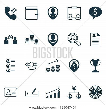 Management Icons Set. Collection Of Cellular Data, Curriculum Vitae, Bank Payment And Other Elements. Also Includes Symbols Such As Bank, Increase, Wallet.