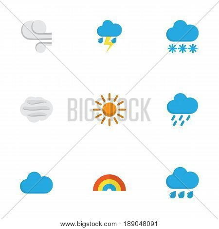 Nature Flat Icons Set. Collection Of Snow, Storm, Windy And Other Elements. Also Includes Symbols Such As Rainbow, Shower, Flash.