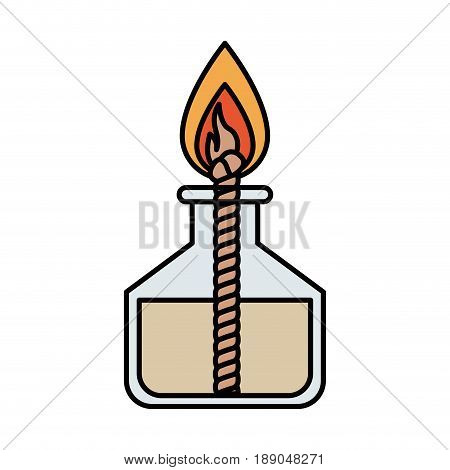 colorful silhouette image laboratory lighter with rope and flame vector illustration