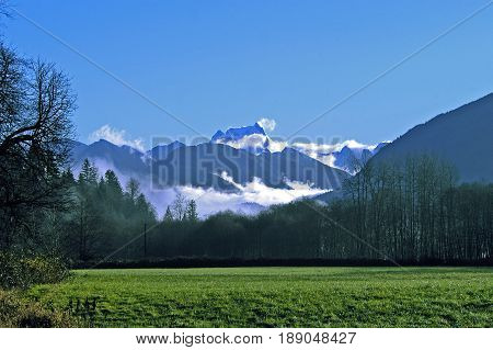 Snow-capped North Cascades from Skagit Valley WA