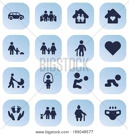Set Of 16 People Icons Set.Collection Of Creep Baby, Perambulator, Father With Son And Other Elements.