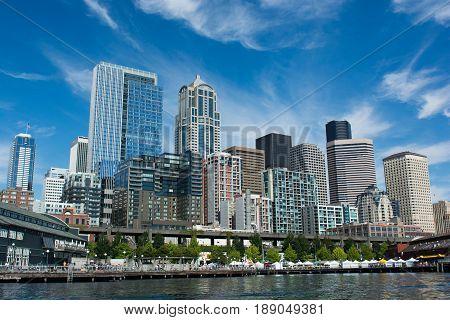 Seattle waterfront viewed from Elliott Bay, Seattle, WA