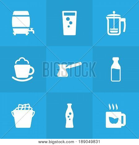 Set Of 9 Beverages Icons Set.Collection Of Hot, Fridge, Fizzy Water And Other Elements.