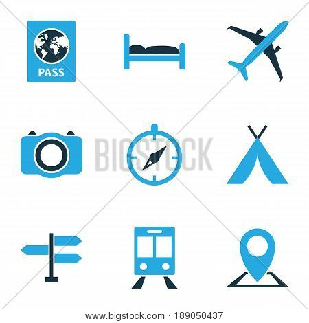 Traveling Colorful Icons Set. Collection Of Bed, Airplane, Tent And Other Elements. Also Includes Symbols Such As Dome, Train, Subway.