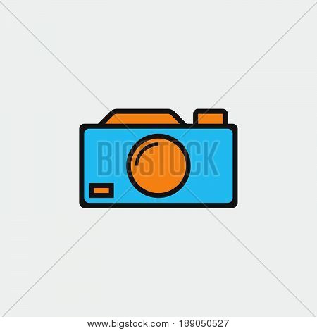 camera icon vector isolated on grey .