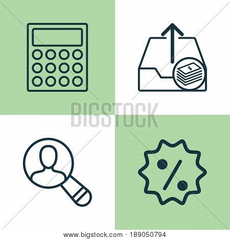 E-Commerce Icons Set. Collection Of Calculator, Spectator, Rebate Sign And Other Elements. Also Includes Symbols Such As Badge, Sale, Economy.