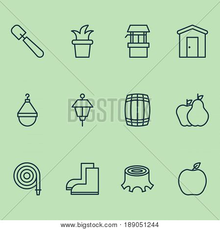 Farm Icons Set. Collection Of Farmhouse, Bush Pot, Cask And Other Elements. Also Includes Symbols Such As Lamp, Plant, Hose.